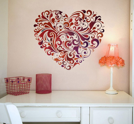 50 beautiful designs of wall stickers wall art decals to decor your bedrooms - Fancy wall designs ...