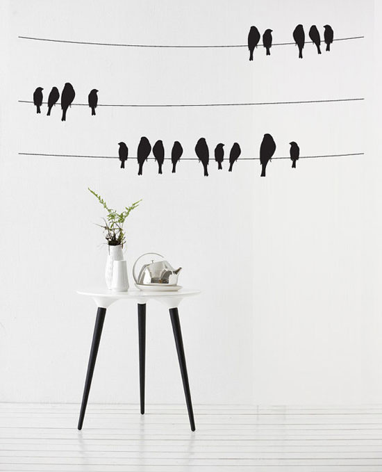 Birds Wire Decorative Vinyl Wall Art Sticker For