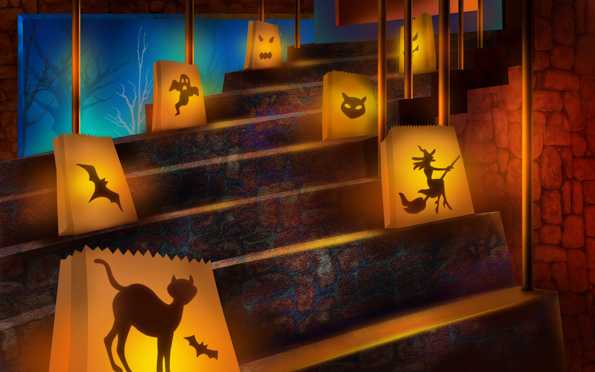 Scary halloween 2012 hd wallpapers pumpkins witches for Decoration halloween