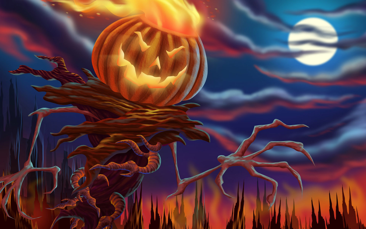 Scary halloween 2012 pumpkin man hd wallpaper