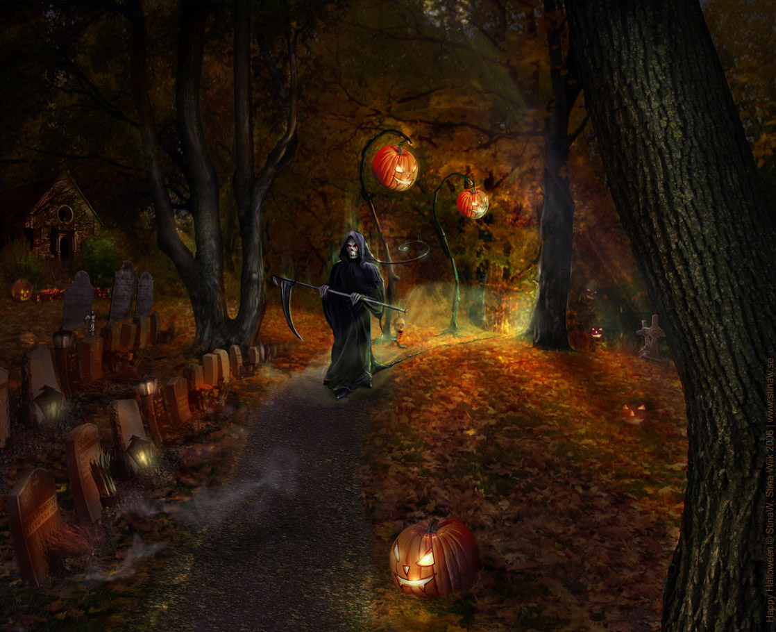 Scary Halloween Night Skeleton Pumpkin HD Wallpaper