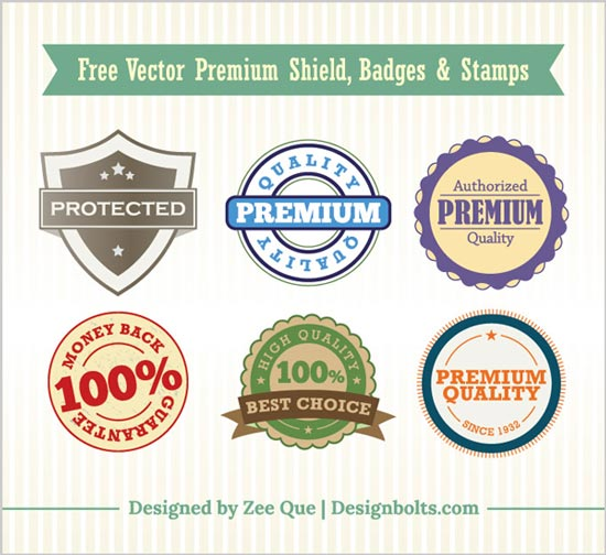 Free Vector Premium Shield Badges Stamps Free Vector Premium Shield, Badges & Stamps | Weekly Gift