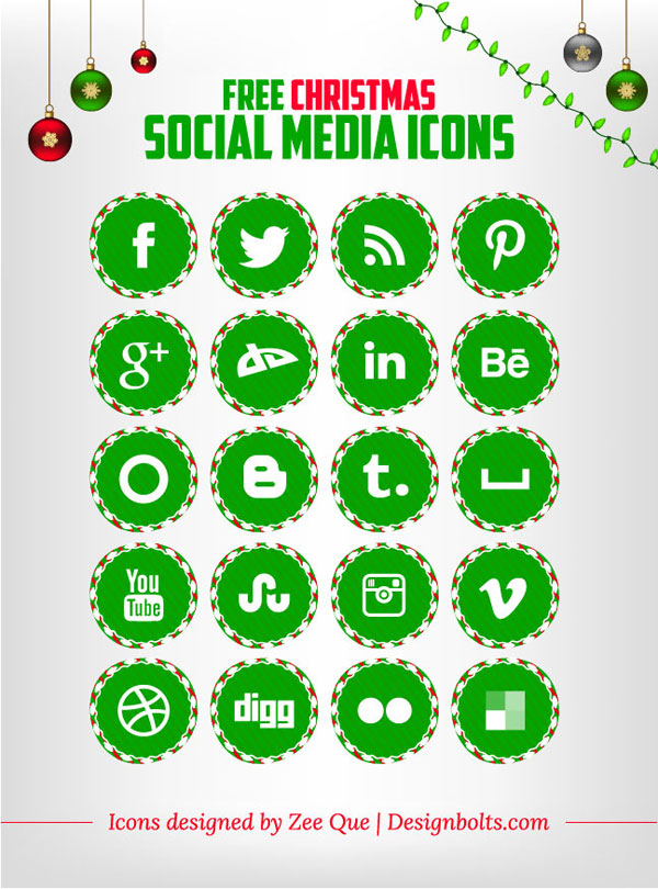 Free Christmas Social Media Icons set green color 02 Free Christmas Social Media Icons Set