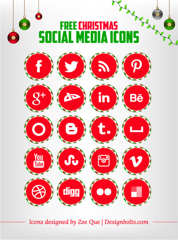 Free Christmas Social Media Icons set red color 01 Free Christmas Social Media Icons Set
