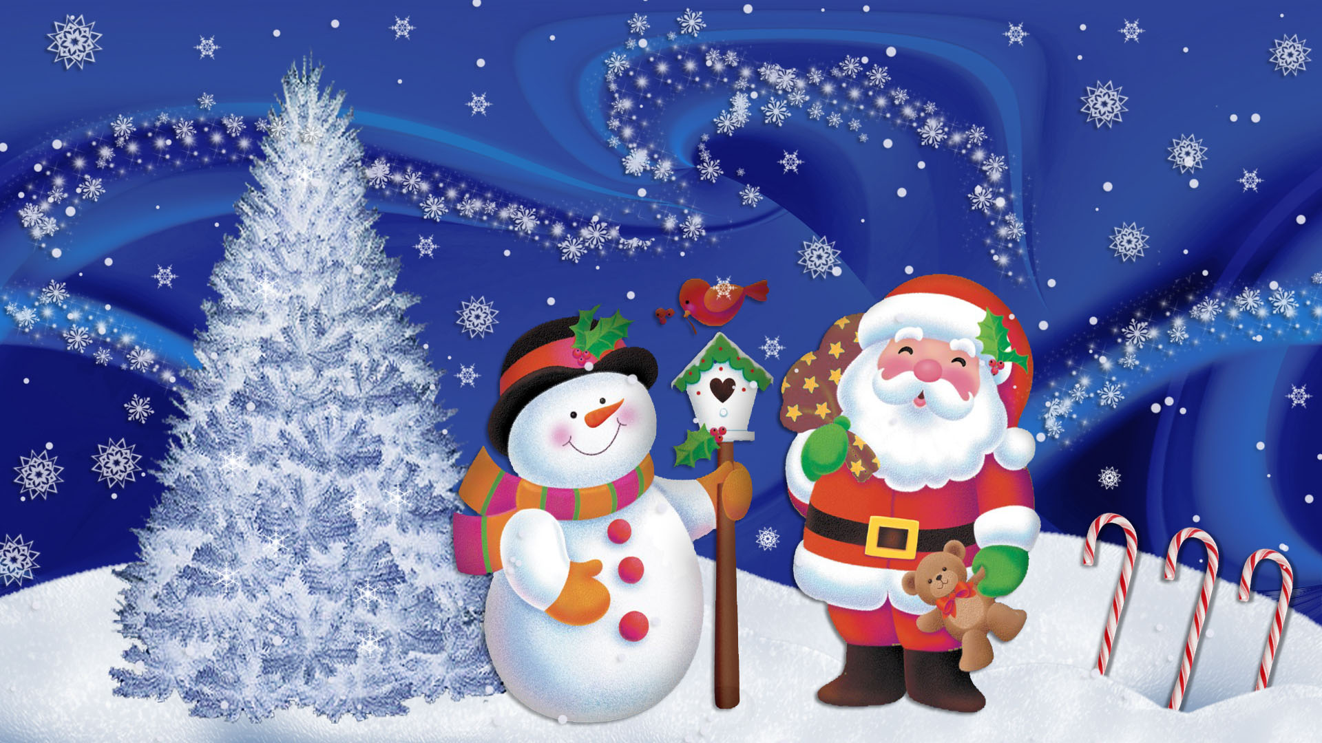 Hoo Hoo Christmas Santa claus Cute Walllpaper1