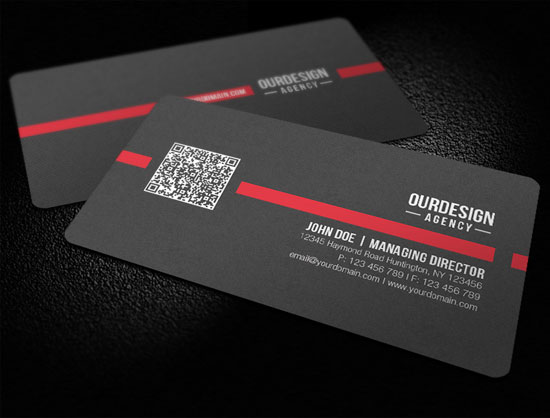 Rounded-Corner-Black-Color-QR-Code-Business-Card-design