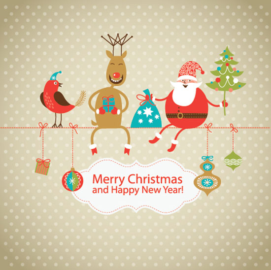 Cute-Christmas-Card-with-Santa-Claus-deer-little-bird