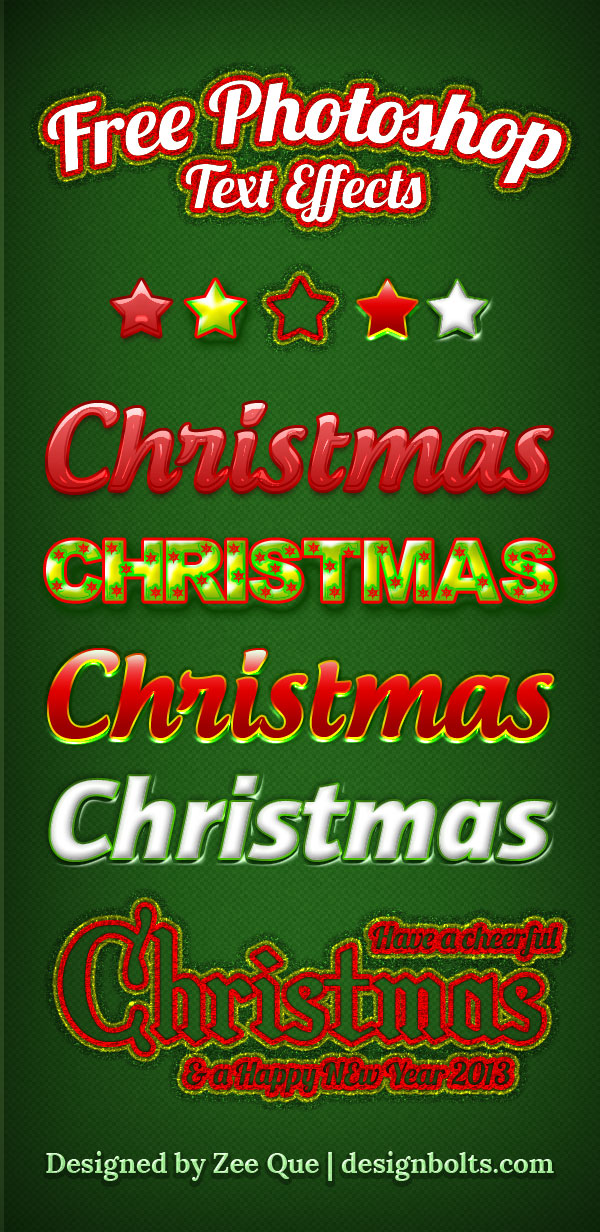 Free Beautiful Christmas Photoshop Text Effects Styles 5 Free Beautiful Christmas Photoshop Text Effects Styles (.asl)