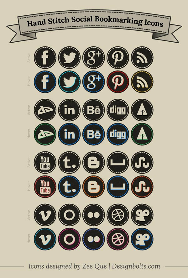 Free-Hand-Stitch-Social-Media-Icons-Set