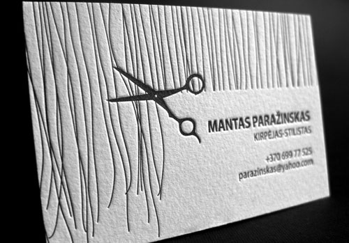 Hair Stylist Creative Letterpress business card design Steps Which Help You To Design Memorable Business Cards