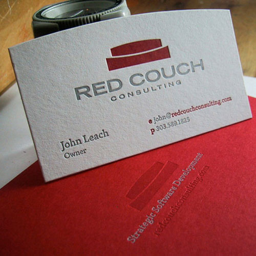 Red Couch business card design for software development Steps Which Help You To Design Memorable Business Cards