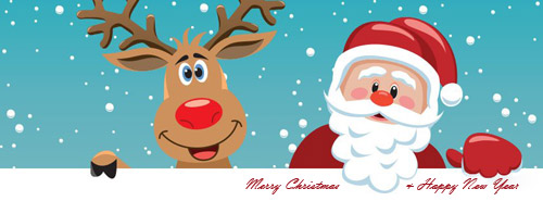 Santa Claus and Rudolf facebook cover photo 25 Merry Christmas Cover Photos For Facebook Timeline