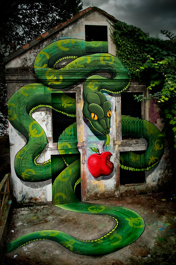 3D Snake Street Art By SOKRAM 2 30+ Awe Inspiring Graffiti Street Art Paintings From Around The World