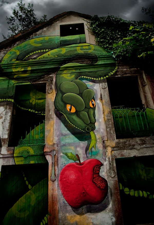 3D Snake Street Art By SOKRAM 30+ Awe Inspiring Graffiti Street Art Paintings From Around The World