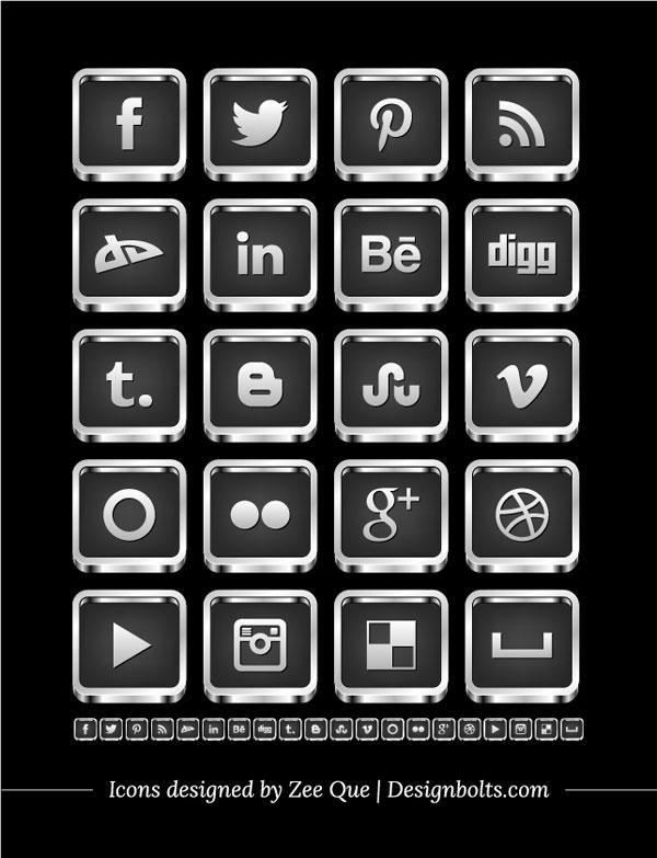 Free 3D Silver Black Social Media Icons