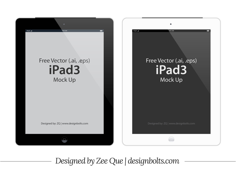 Free Vector Apple iPad 3 Tablet Mockup In (.ai & .eps) Format