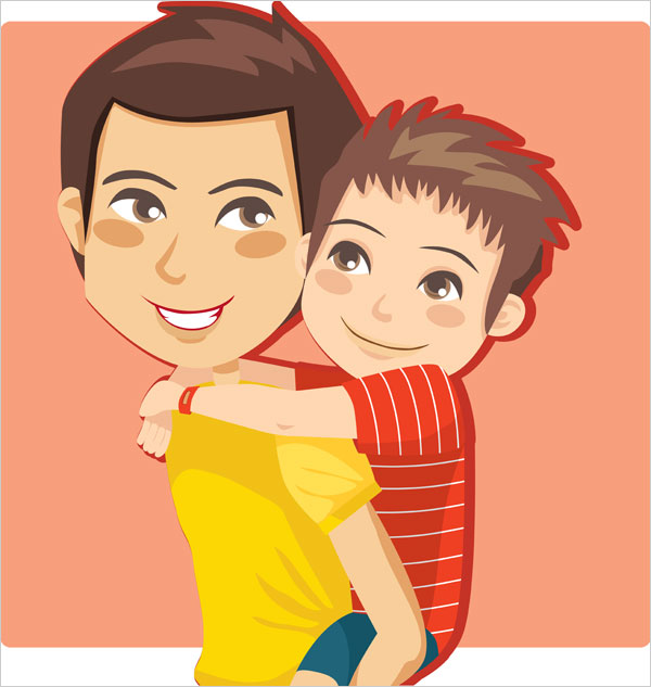 father-&-son-vector-image