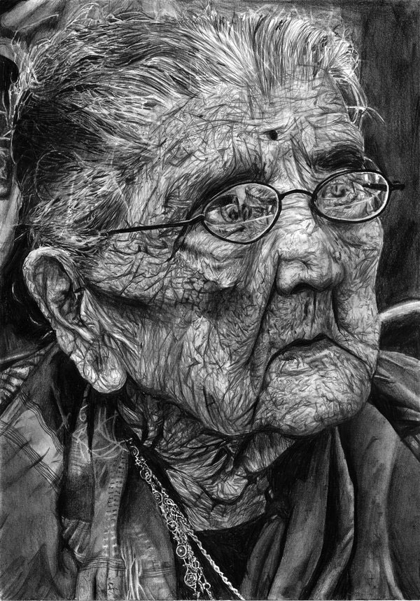 Almost_hundred_Old-women-Pencil-Drawing