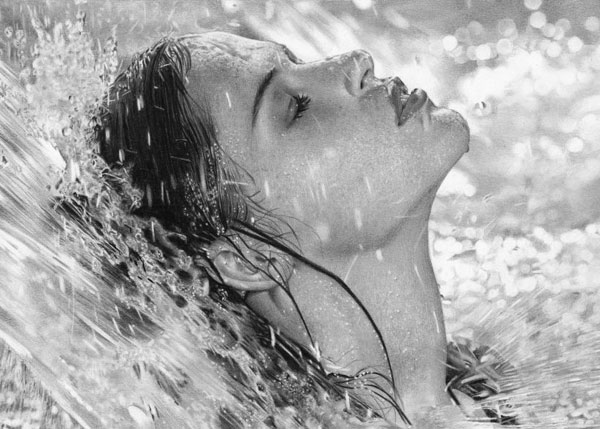 Girl-in-the-Water-Photo-Realistic-Pencil-Drawing