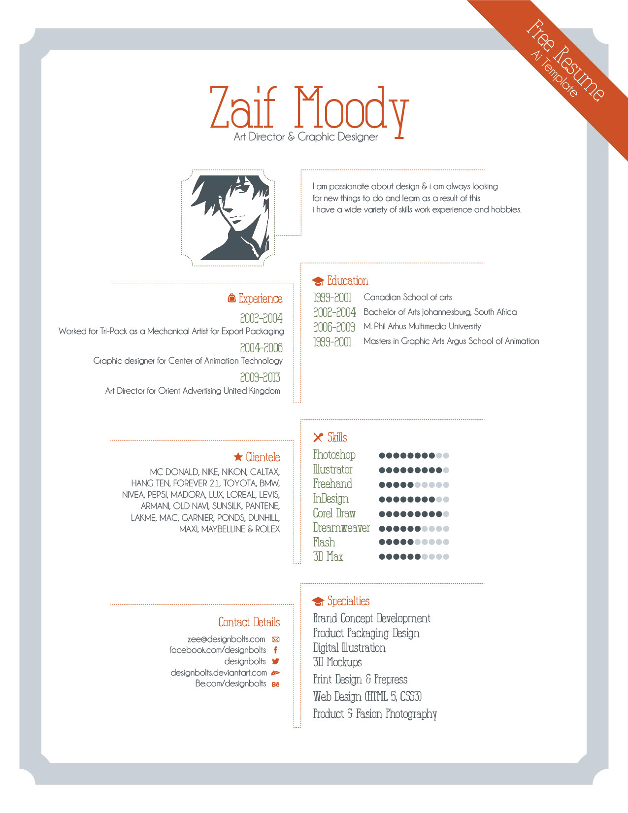 Free Resume Template For Graphic Designers  Illustrator Ai  Eps File
