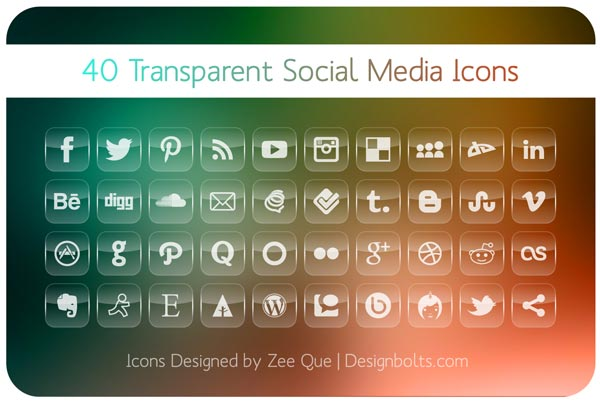 40 free transparent social media icons