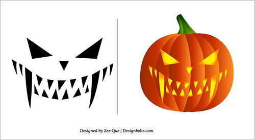 Free printable Face Scary |easy free halloween pumpkin carving patterns  templates | Pumpkin carving templates on Pinterest embodying and personal  use.
