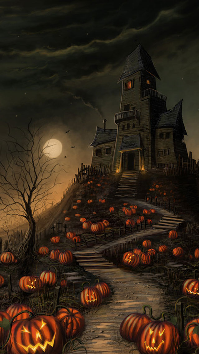 Halloween-2013-Haunted-House-iPhone-5s-Wallpaper