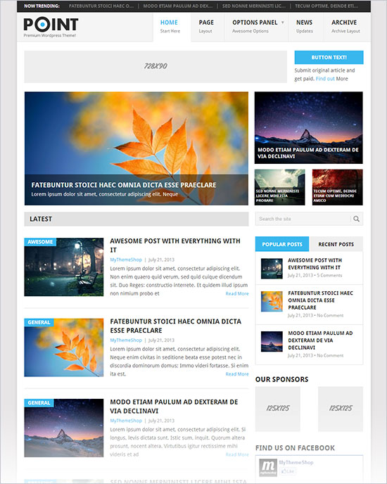 12 best free blog business wordpress themes for october for Free blog templates wordpress