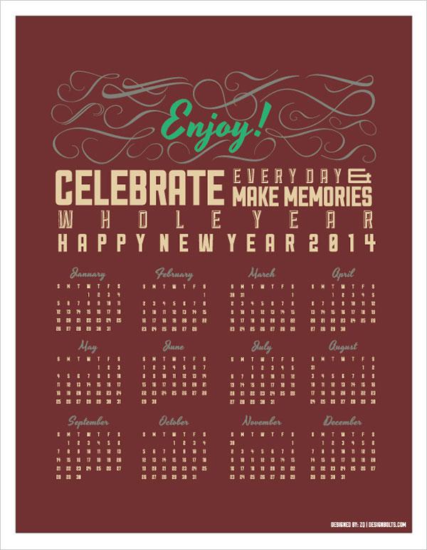 Free-Vector-Printable-Calendar-2014