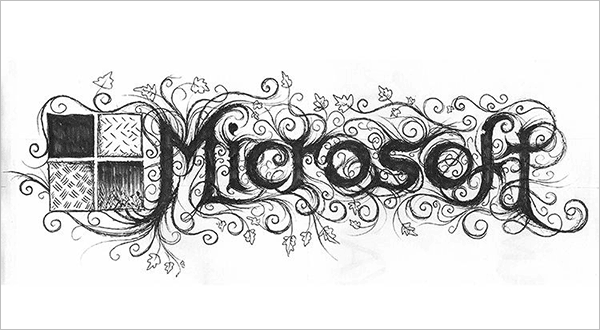 Microsoft-Logo-in-Black-Metal-typography