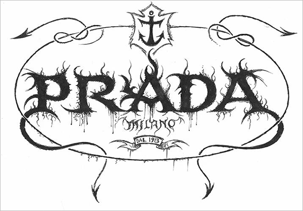 Prada-Logo-in-Black-Metal-typography