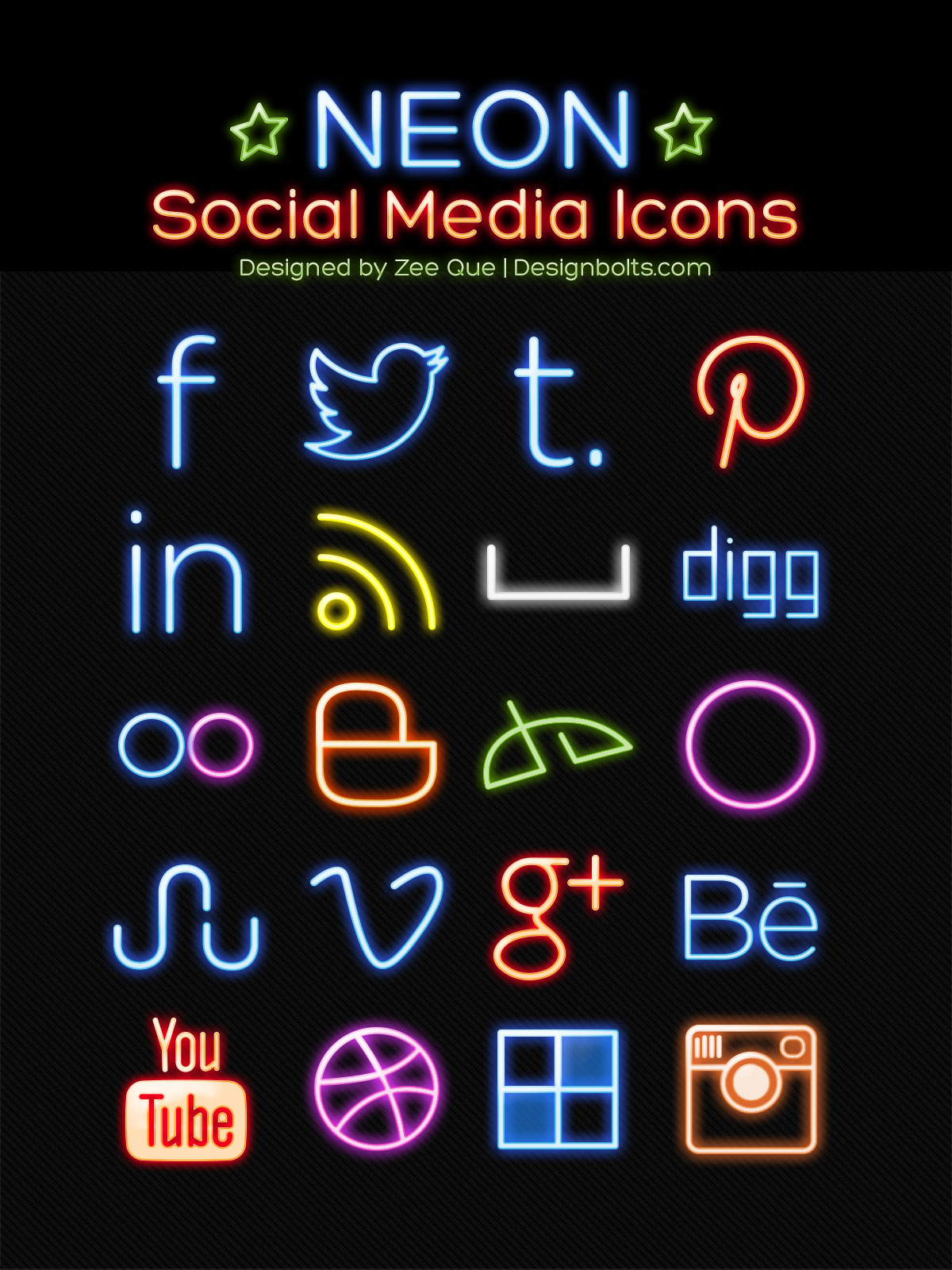 Neon Free Social Media Icons 2014