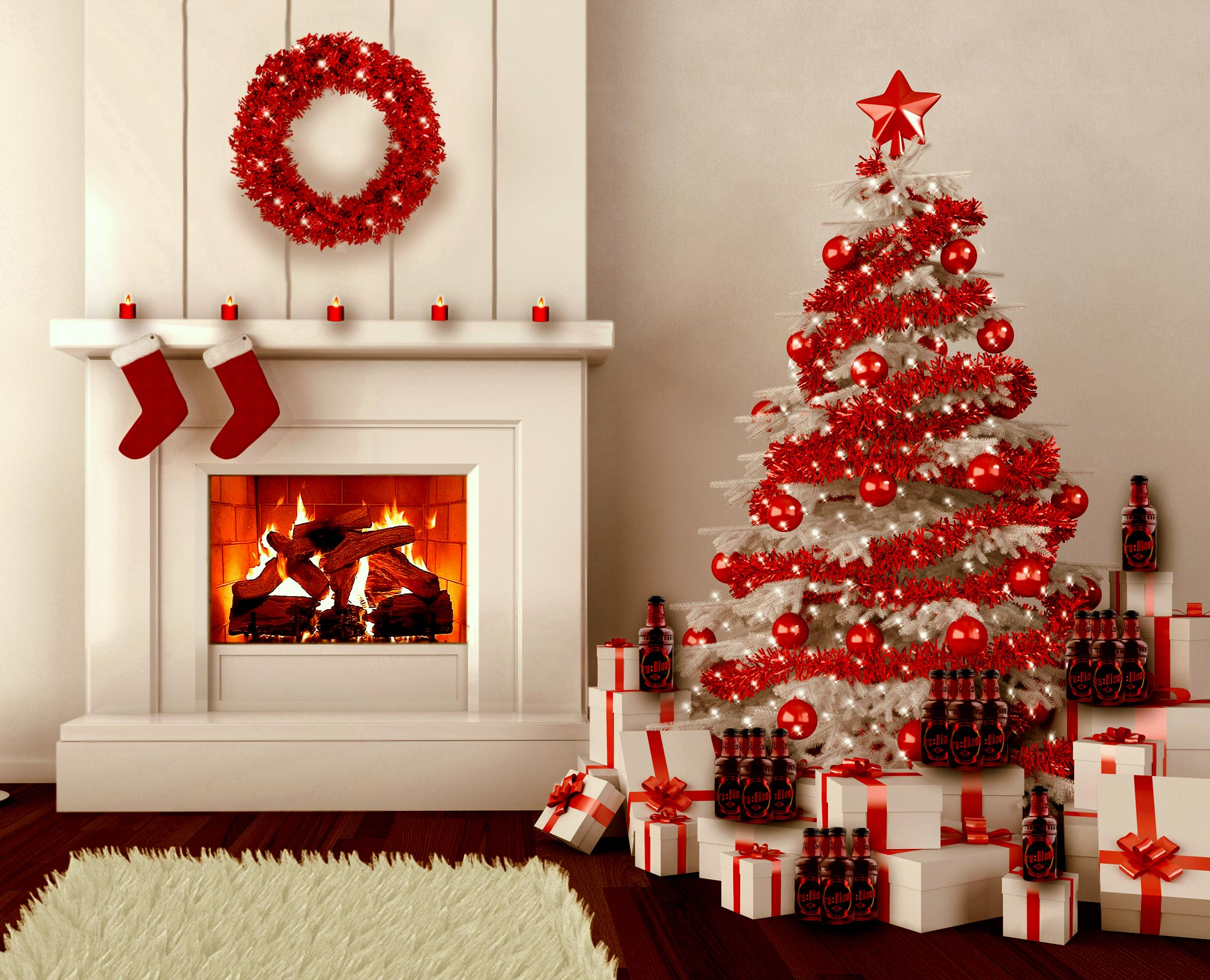 red christmas tree decorations ideas - White Christmas Tree With Red Decorations