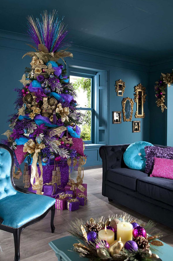 purple-christmas-tree-decorations