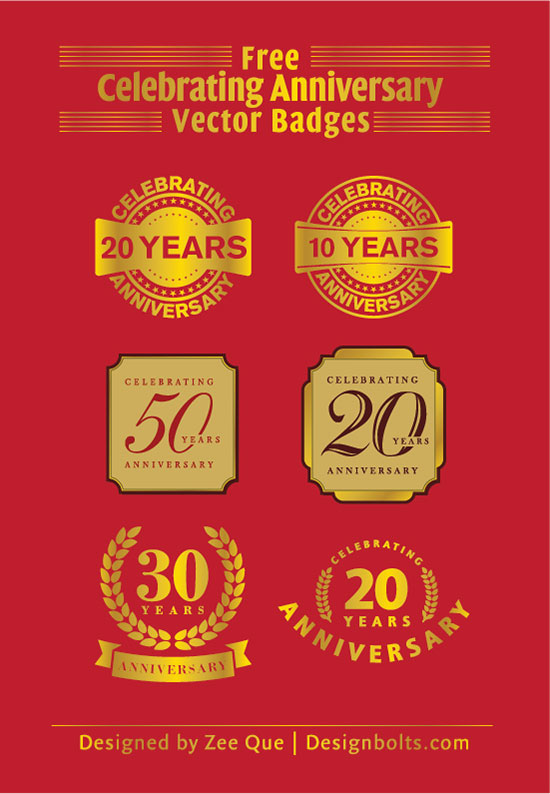 Free Celebrating 20 Years Anniversary Vector Badges Ai Amp Eps