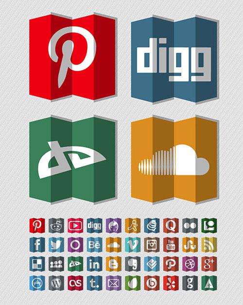 Folded-Free-Social-Media-Icons