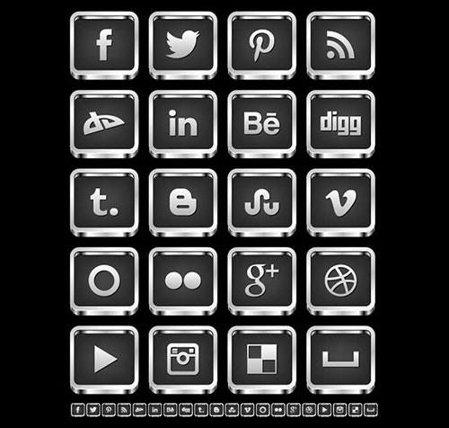 Free-3D-Silver-Black-Social-Media-Icons