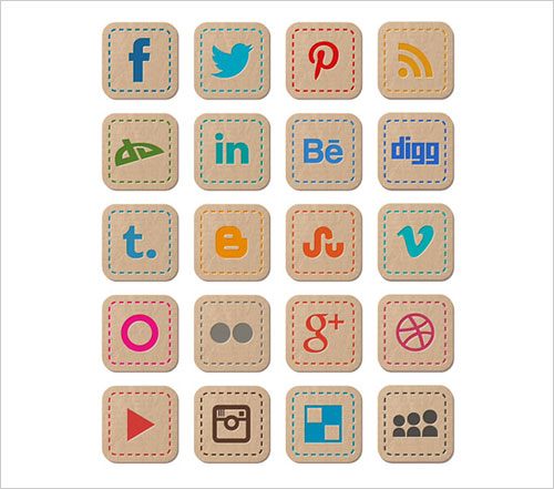 Free-hand-stitched-social-networking-icons