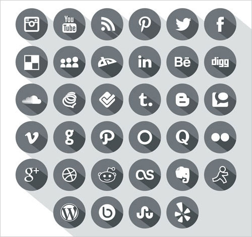 Long-Shadow-Simple-Social-Media-Icons