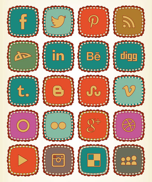 Retro-Free-social-networking-icons