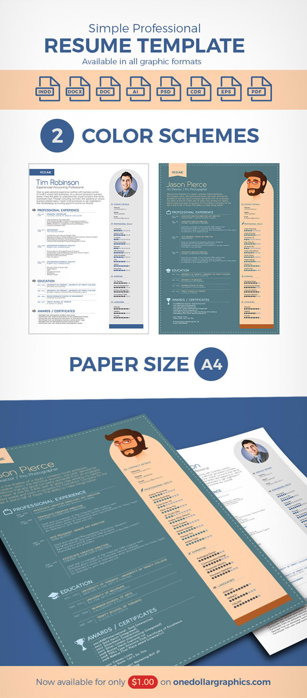 free simple professional resume template in ai format  u2013 designbolts