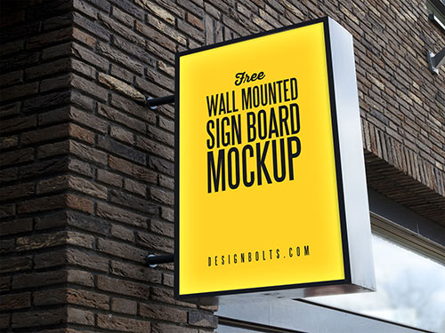 Free-Outdoor-Advertising-Wall-Mounted-Sign-Board-Mockup-PSD-3
