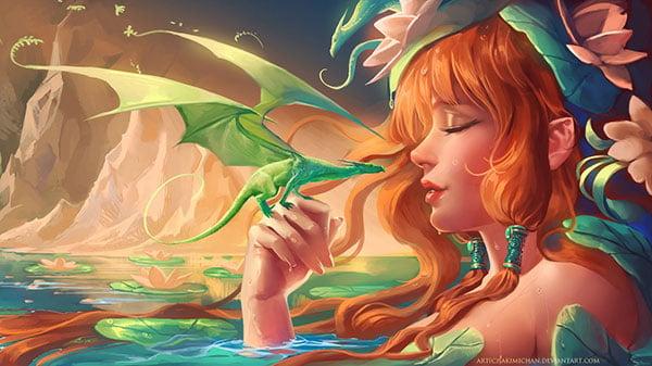 Mini_Dragon_Digital-art-Painting-by-sakimichan