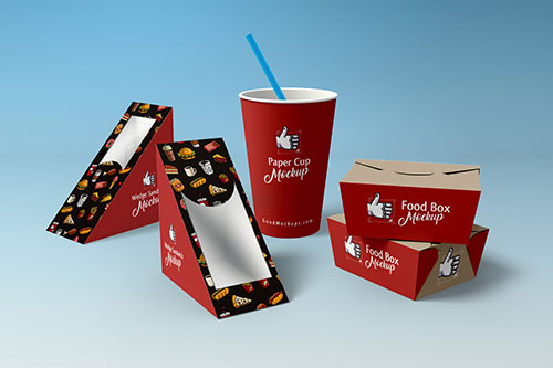 Free-Wedge-Sandwich-Food-Box-Paper-Cup-Packaging-Mockup-PSD