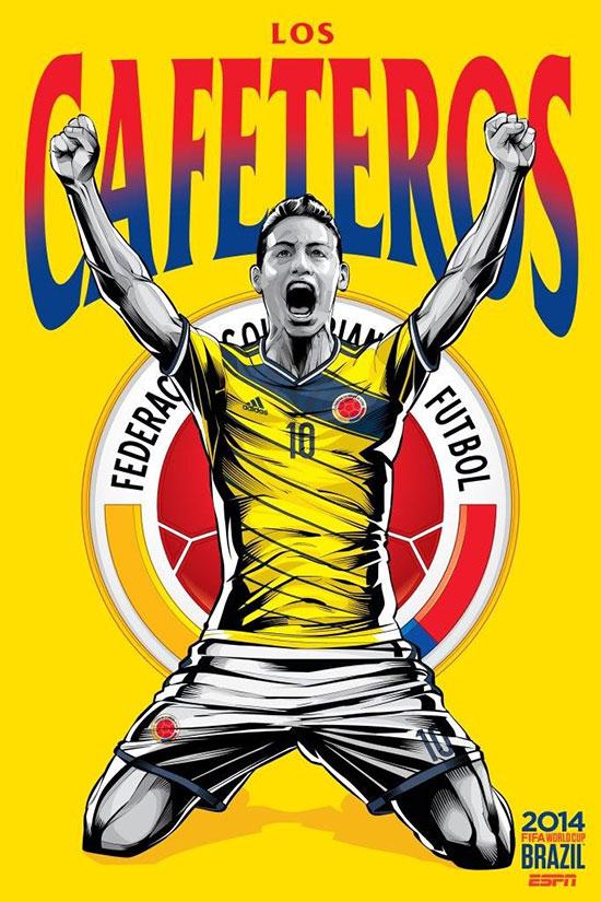 colombia espn Brasil copa do mundo de futebol 2014 cartaz ESPN Brasil Copa do Mundo de Futebol 2014 Poster Series by Cristiano Siqueira