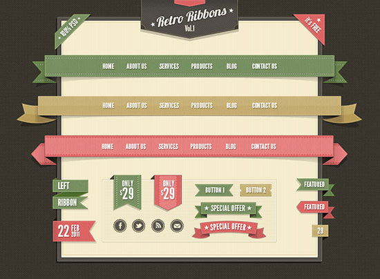 free_Retro-web_ribbons_psd-files