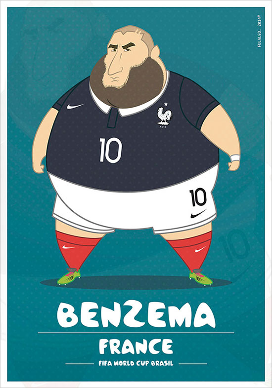 Benzema France Fifa World Cup Brazil 2014 If Football Players Were Sumo Wrestlers | Fat but Flat Designs by Fulvio Obregon