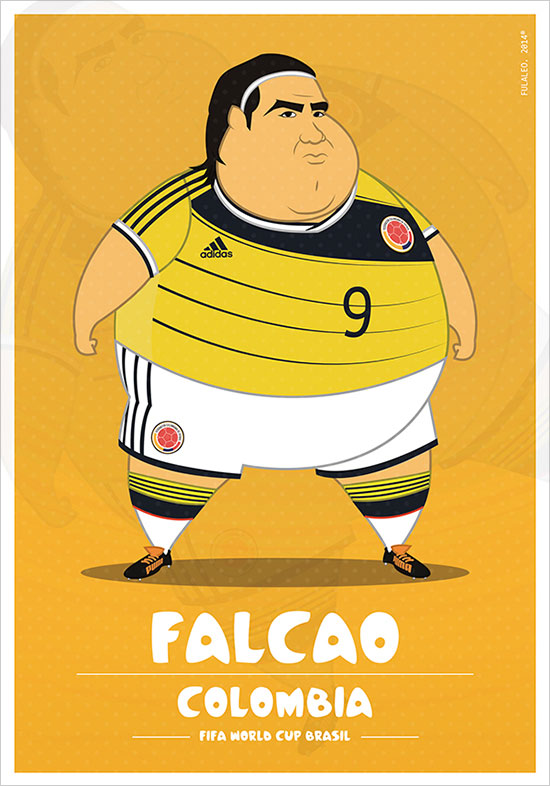 Flacao Colombia Fifa World Cup Brazil 2014 If Football Players Were Sumo Wrestlers | Fat but Flat Designs by Fulvio Obregon
