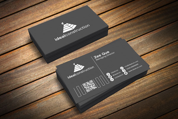 Free black white business card template mockup psd for Business card presentation template psd