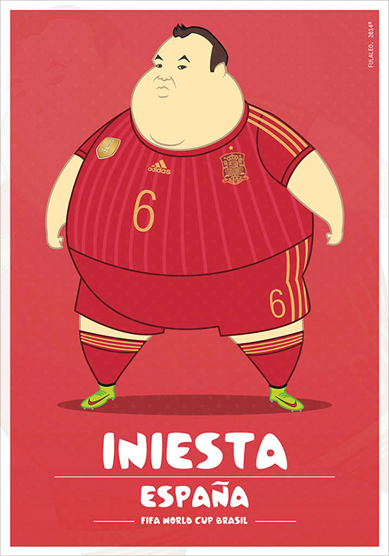 Iniesta Espana Fifa World Cup Brazil 2014 If Football Players Were Sumo Wrestlers | Fat but Flat Designs by Fulvio Obregon